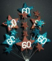 Star age 60th birthday cake topper decoration in teal and choc - free postage